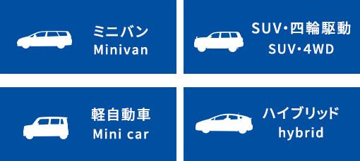 ミニバン Minivan SUV・四輪駆動 SUV・4WD 軽自動車 Mini car ハイブリッド hybrid